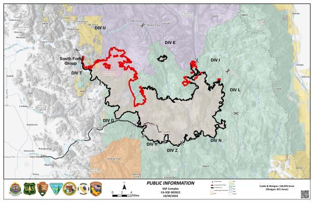 This map shows the fire perimeter and red or black perimeter lines indicating the areas that are contained are black and areas still growing in red.