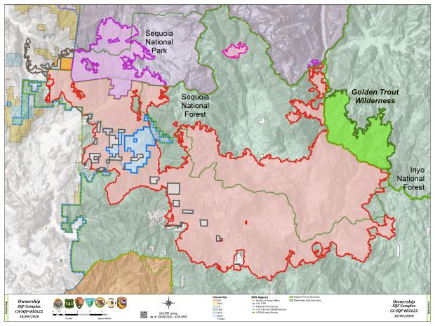 This map shows land ownership relative to the fire perimeter