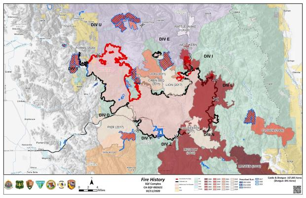 This map shows previous recent fire history around the Sequoia Complex Fire
