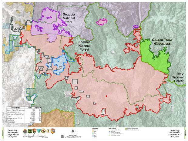 This map shows how much of the fire is in different land management agecies