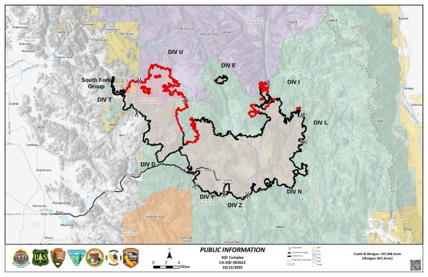 This map shows the fire perimeter and red and black lines indicating contained portions of the fire