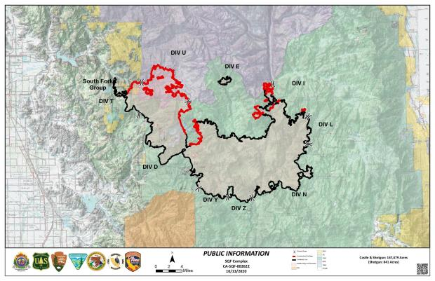 This map shows the fire perimeter and red and black lines indicating the contained portions of the fire (in black)
