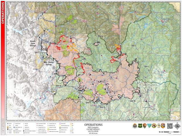 This map shows the operational details of the SQF Complex Fire.