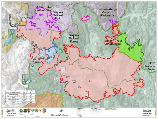 This map shows the various land owndership boundaries and the fire boundary