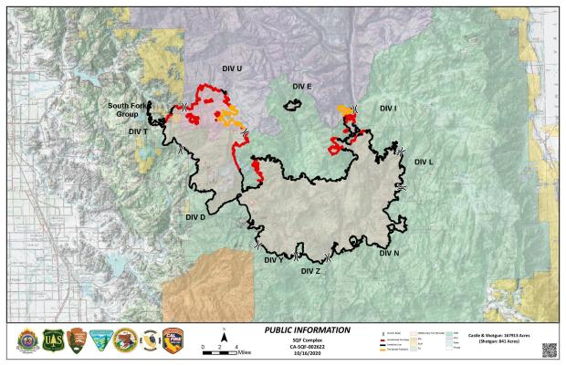 This map shows the fire boundary in red and black, black indicating contained fireline, ed indicating areas that are still burning
