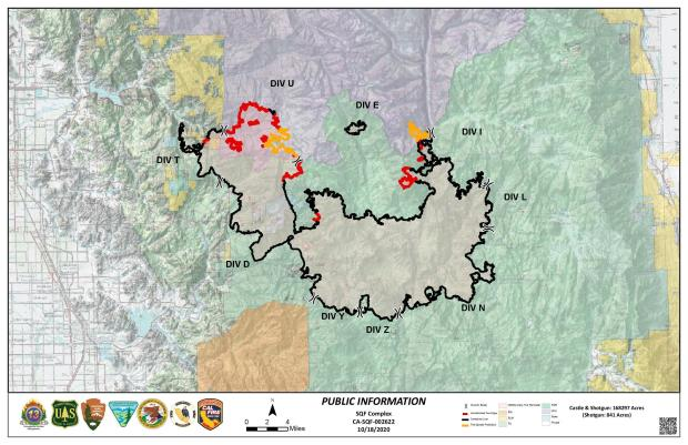 This map shows the fire perimeter in Red, Black and Orange.  Red is active burning areas, black is controlled fire edge,and orange is areas that are being monitored.in difficult terrain.