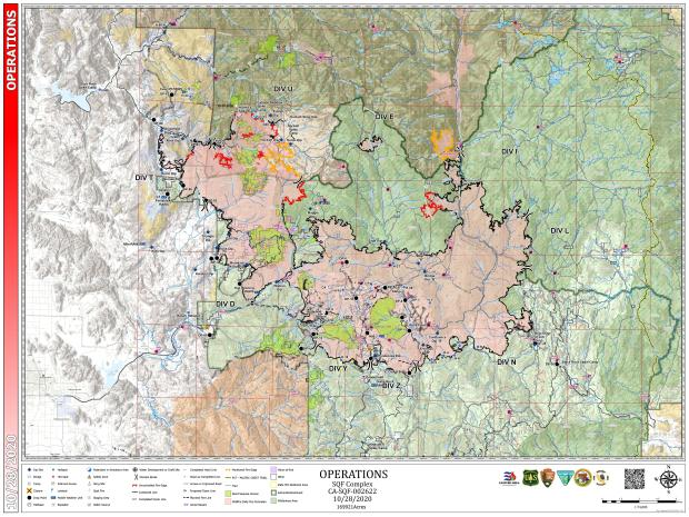 Detailed map of the SQF Complex Fire Oct. 28, 2020