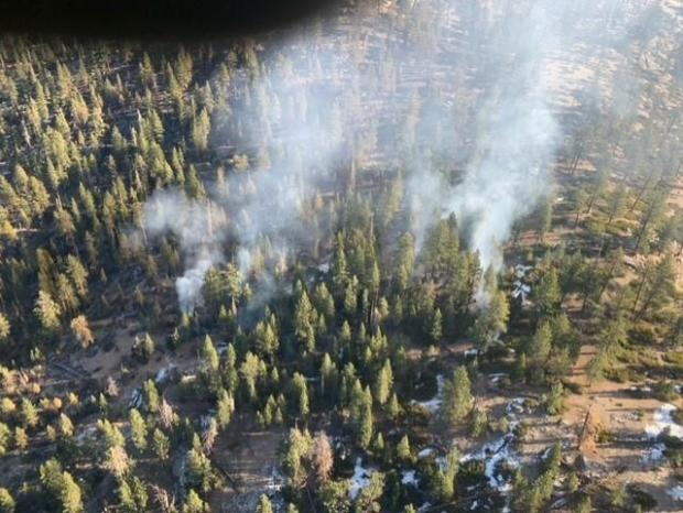 Smoldering pockets of the Castle Fire near Inyo National Forest