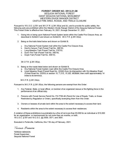 SQF Forest Closure page 1 of 2 Feb. 11, 2021