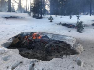 Prescribed burning of hand piles at Trail of 100 Giants on Feb. 17, 2021