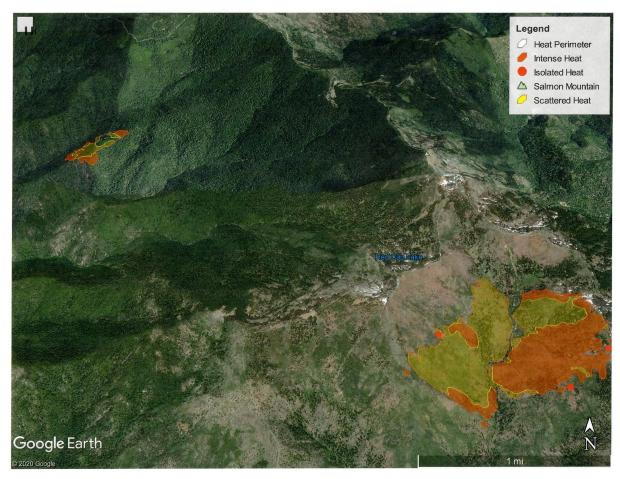 Google Earth image of the Red Fire on the Six Rivers National Forest, and the Salmon Fire on the Shasta-Trinity National Forest—now the Red Salmon Complex—as of July 29, 2020.