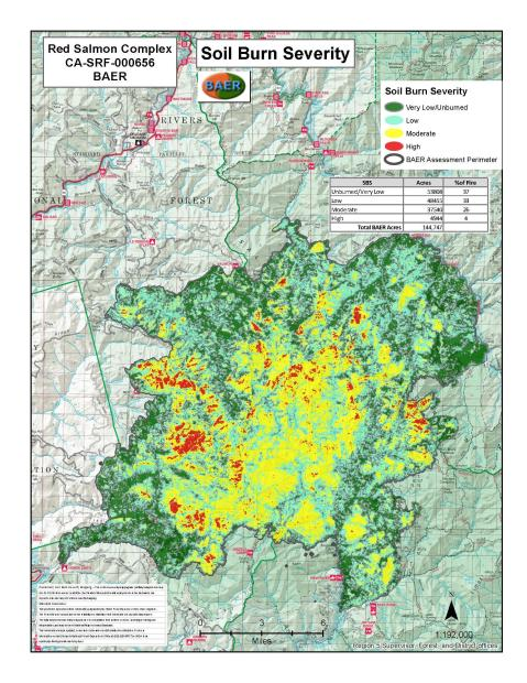 JPG Image showing Red Salmon Complex Post-Fire BAER Soil Burn Severity Map