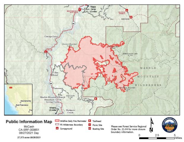 Map showing topography with McCash Fire perimeter and local landmarks.