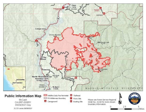 Map showing topography with McCash Fire perimeter and local landmarks as of Sunday, August 29, 2021.