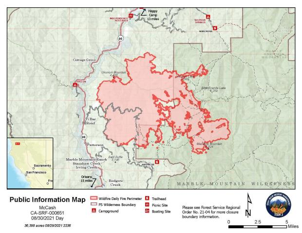 Map showing topography with McCash Fire perimeter and local landmarks as of Monday, August 30, 2021.
