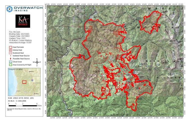 Map showing topography with McCash Fire perimeter and local landmarks as of Friday, September 3, 2021.