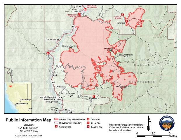Map showing topography with McCash Fire perimeter and local landmarks as of Saturday, September 4, 2021.