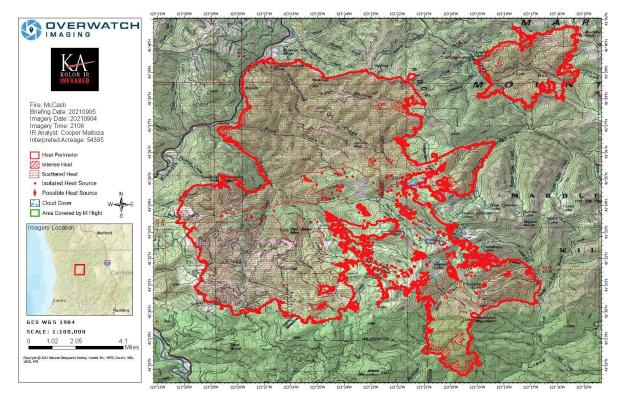 Map showing topography with McCash Fire perimeter and local landmarks as of Sunday, September 5, 2021.