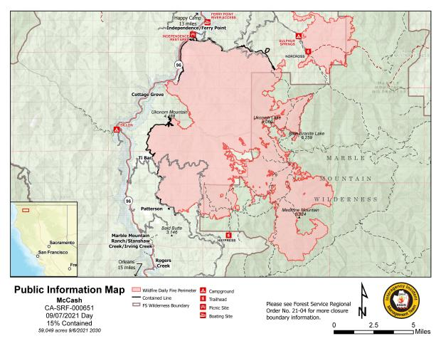 Map showing topography with McCash Fire perimeter and local landmarks as of Tuesday, September 7, 2021.