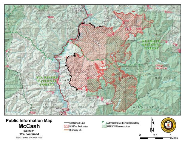 Map showing topography with McCash Fire perimeter and local landmarks as of September 9, 2021.