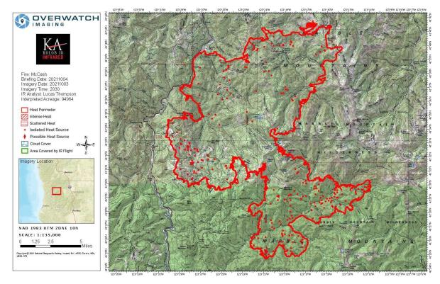 Infrared Map showing areas of heat within the fire
