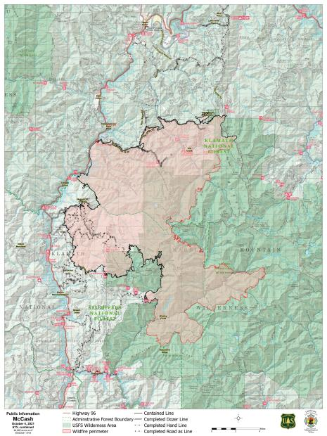 Topographic map showing the perimeter of the fire. Black line is contained and red line active fire line.