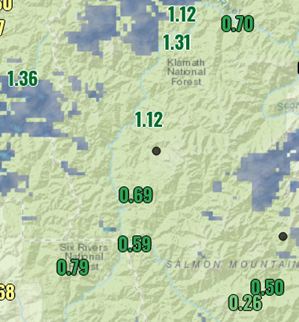 McCash Fire precipitation amounts (inches) for Tuesday night and early Wednesday morning.