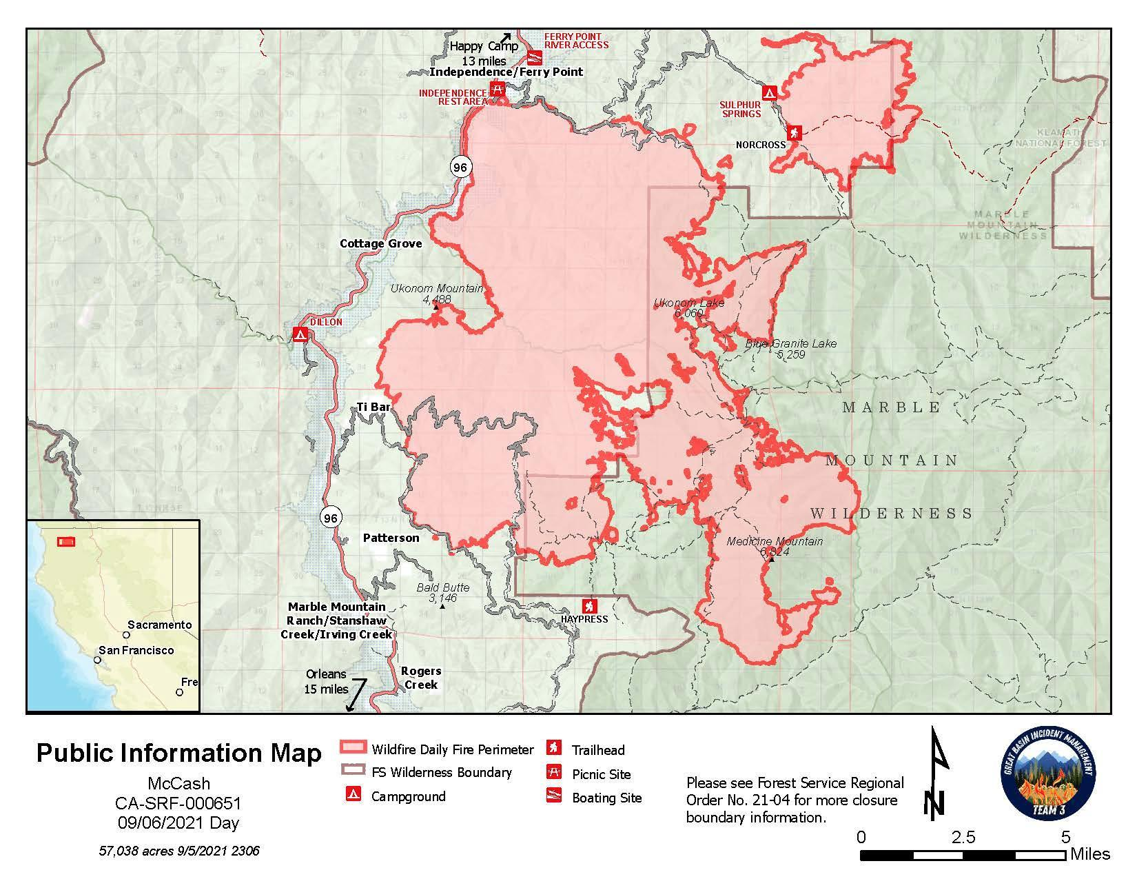 Map showing topography with McCash Fire perimeter and local landmarks as of Monday, September 6, 2021.