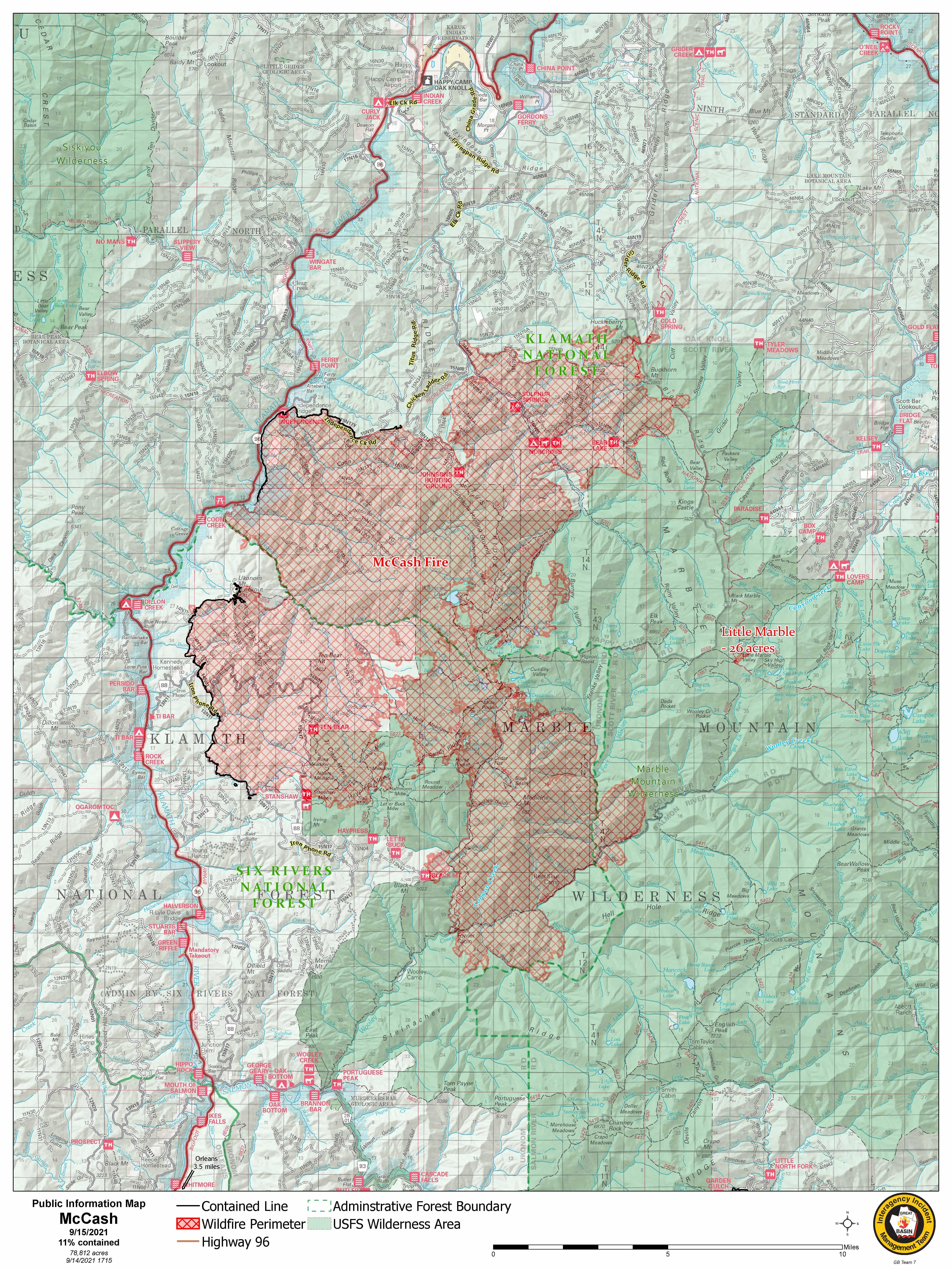Map showing McCash Fire and Little Marble Fire