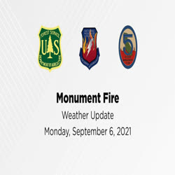 An employee from the National Weather Service provides a weather update for the Monument and Knob fires on Sept. 6.