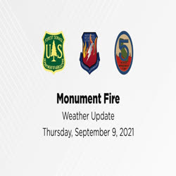 An employee from the National Weather Service provides a weather update for the Monument and Knob fires on Sept. 9.