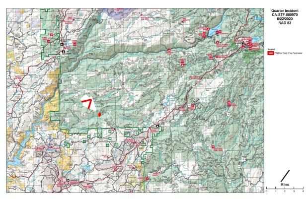 Shows the fire location and surrounding area.