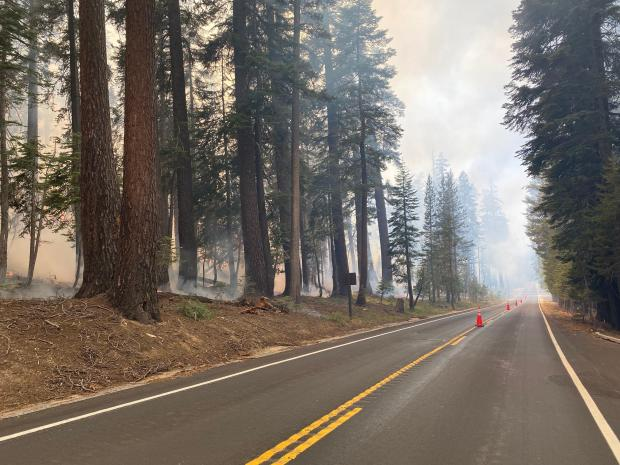 Smoke can be seen on a two-lane road with burned vegetation on either side.