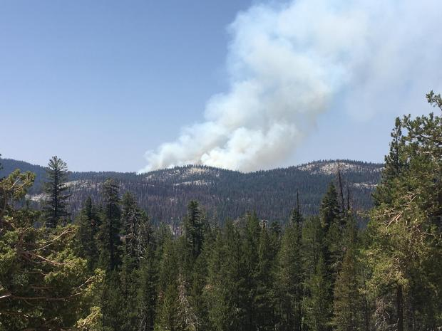A plume of smoke can be seen above a forested ridge.