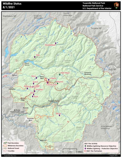 Map of current fires in Yosemite National Park - 8/1