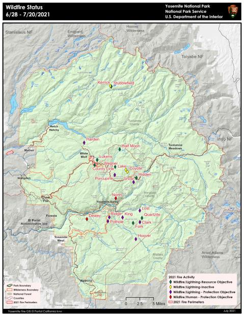 This map of Yosemite National Park shows the location of the lightening caused fires.