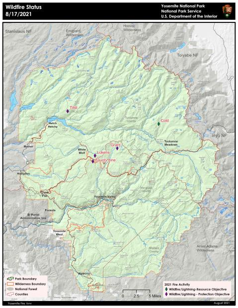 Map showing current fires in Yosemite