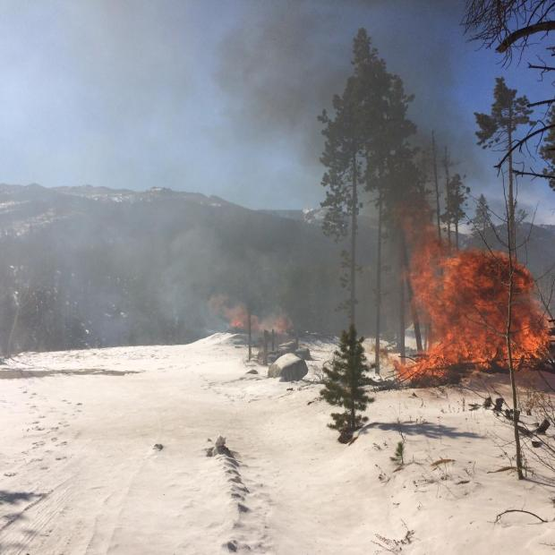 Pile burning this winter near the Tom Bennett Campground