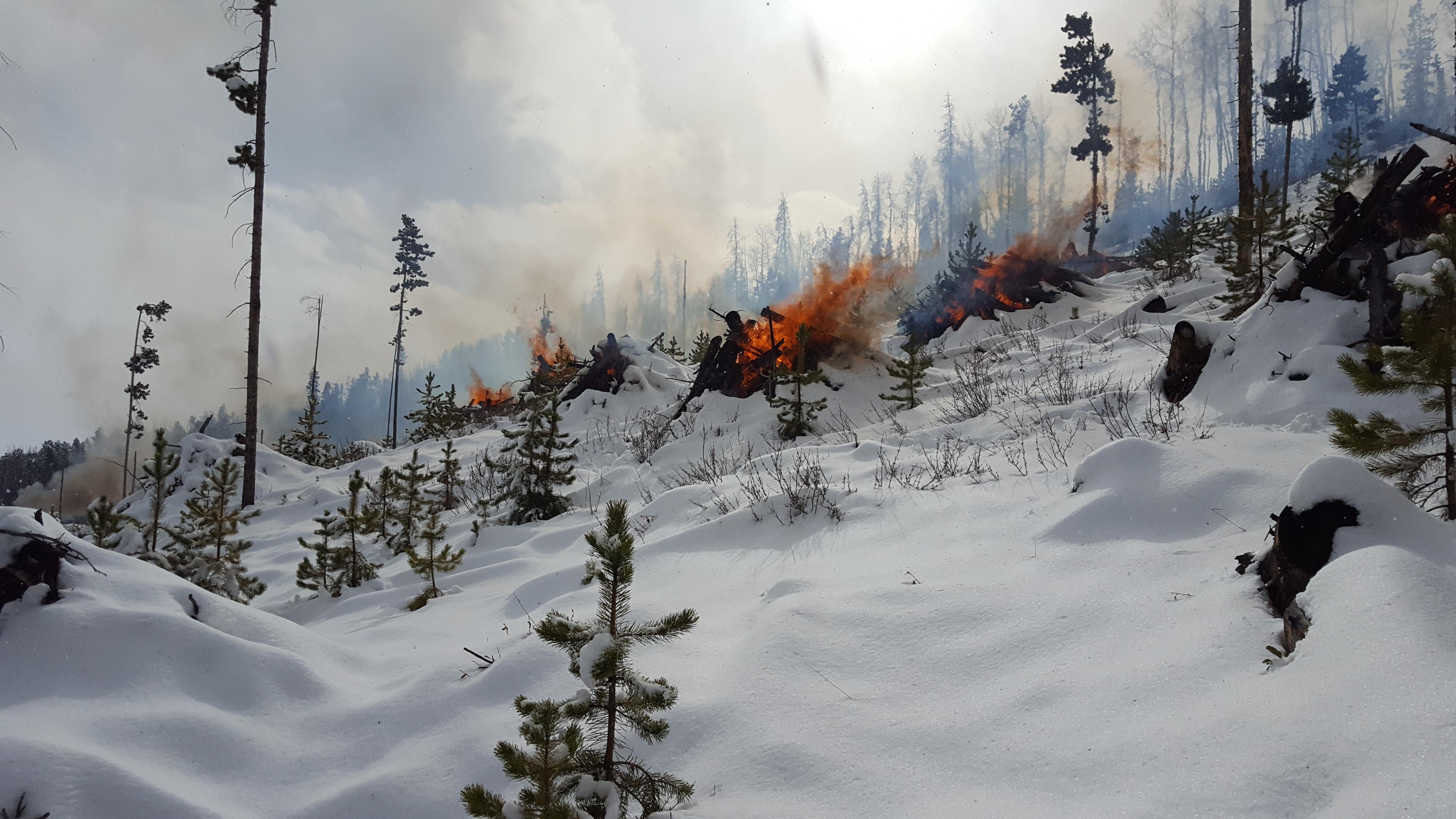 Pile burning in snow with smoke, flames