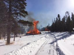 Pile burning in the Monument Gulch area on January 14, 2015.