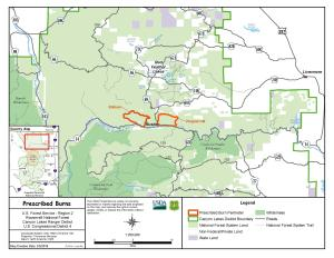 Map showing the outline of the prescribed burn units within the Poudre Canyon.