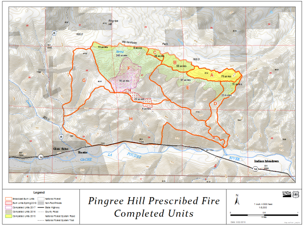 Map showing locations of the prescribed burn units with colors depicting accomplishments to date of burning.