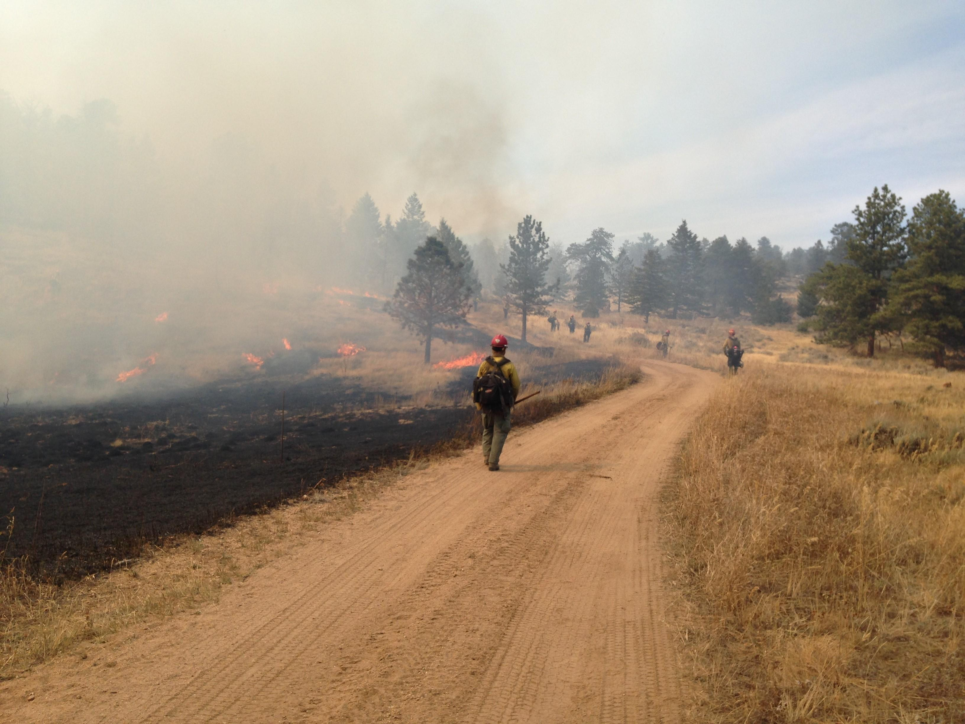 Firefighters walk along a dirt road with flames and black ground next to them.