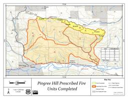 Map displaying the outline of the prescribed burn and indicating which portions of the prescribed fire have been burned in previous years.