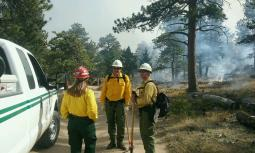 Three individuals stand in fire gear by a white truck. Firefighters and flames are in the background.