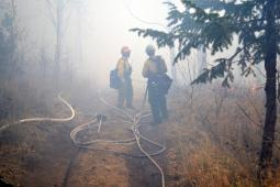 Two firefighters stand away from the camera in heavy white smoke and white hose lays on the dirt ground.
