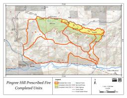 Map showing location of the prescribed burn units with colors depicting accomplishments to date of burning.