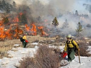 Firefighters in protective clothing ignite the burn using a metal drip torch. Orange flames visible on mountain backdrop.