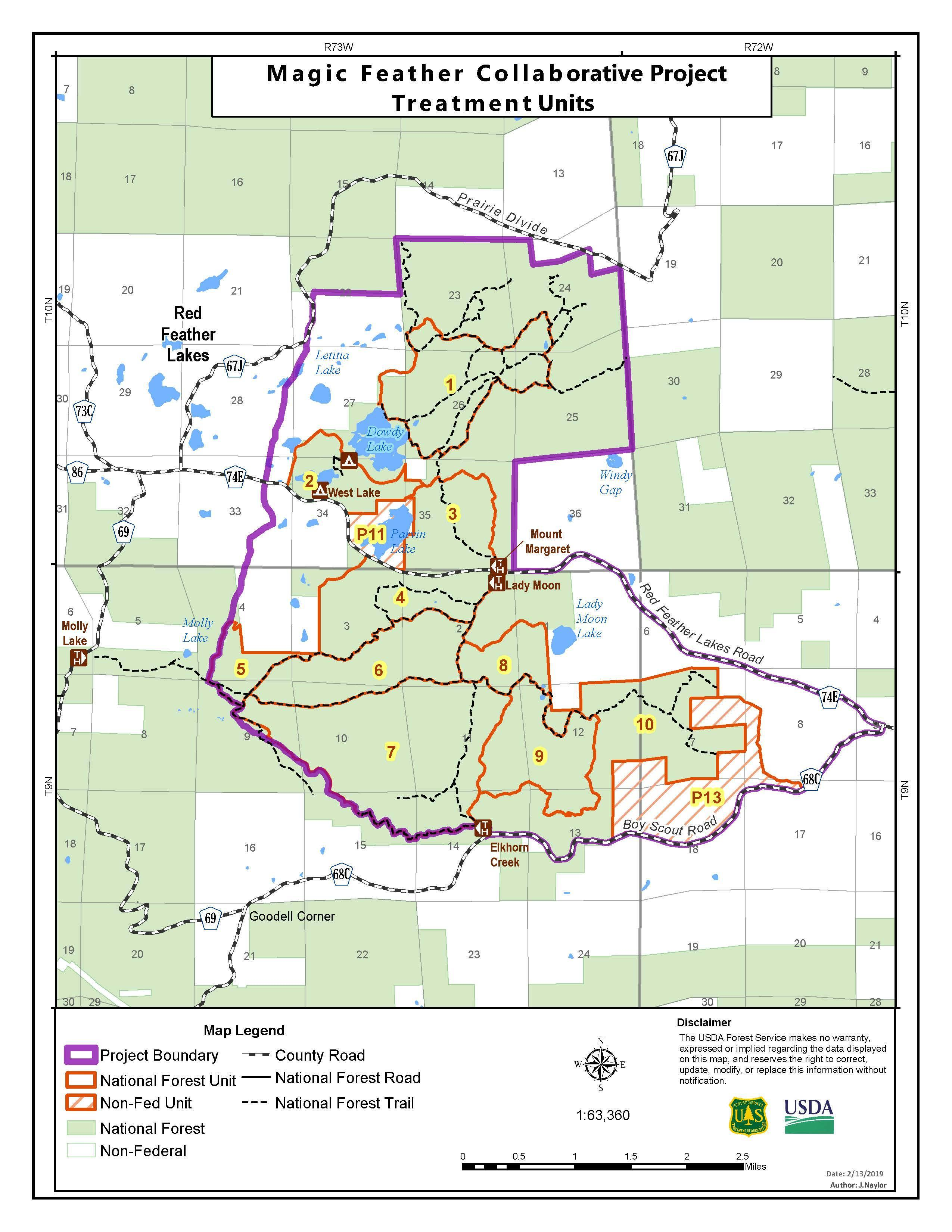 Map showing the area of the prescribed burn, located predominately east and southeast of Red Feather Lakes.