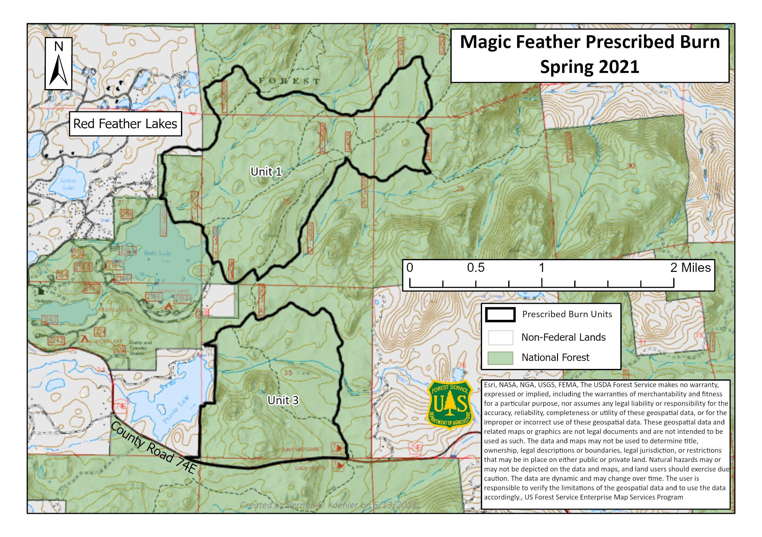 Map of Magic Feather Units 1 & 3 - Burning Planned Spring 2021 - East & Southeast of Red Feather Lakes and north of Larimer County Road 74E.